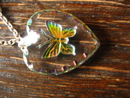 reizender Vintage Herz Anhänger mit Schmetterling an Kette Tracht Dirndl Kinder - Vorschau 4