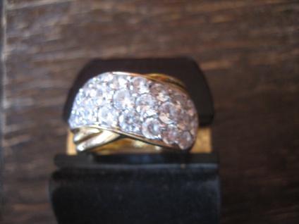 prächtiger vintage Designer Ring Cocktailring 925er Silber gold Zirkonia RG 57