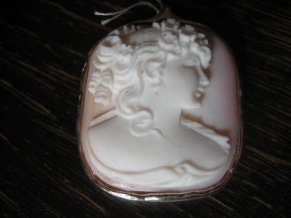 traumhafte zart rosa Muschelgemme Cameo Kamee junge Dame Anhänger Brosche 925er