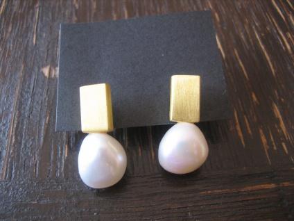 exklusive moderner Designer Ohrringe Stecker 925er Silber gold Perle stilvoll