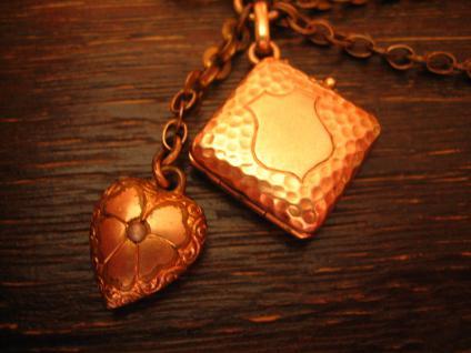 kleine Jugendstil Uhrenkette Chatelaine für DTU mit Herz Anhänger + Medallion - Vorschau 2
