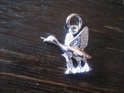 bezaubernder Anhänger Gans Ente im Flug Wildgans Wildente 925er Silber Kinder