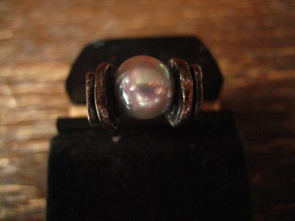 prächtiger Vintage Designer Ring große Perle grau tolles Lüster 925er Silber 54 - Vorschau 4