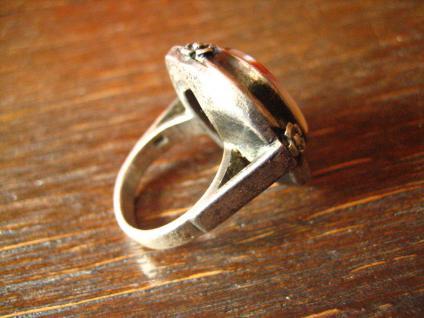 prächtiger Art Deco 835er Silber Streifenachat Ring Goldschmiede Handarbeit 1920 - Vorschau 2