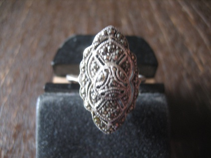 schöner großer Art Deco Markasit Ring 925er Silber 18, 75 mm RG 59 wunderschön