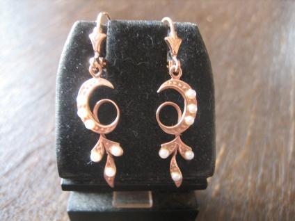 zauberhafte Jugendstil Ohrringe Hänger 925er Silber Roségold vergoldet Perlen