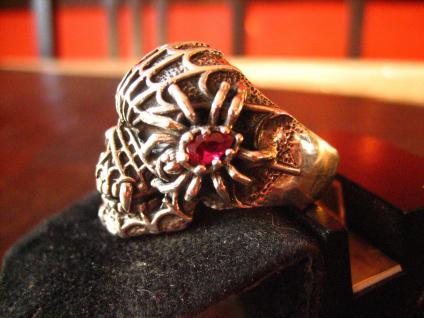 mächtiger Biker Ring Totenkopf Dämon Spinne Skull 925er Silber RG 63 Gothic - Vorschau 3