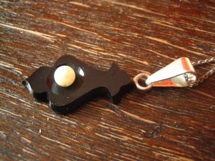 Rarität ! Biedermeier Anhänger eingeschliffenes Onyx Element echte Perle Silber - Vorschau 3