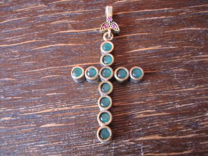 Kronjuwelen gesucht ? wunderschöner Kreuz Anhänger 925er Silber gold Smaragd