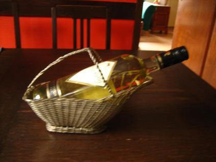 eleganter antiker Flaschenhalter Weinflaschenhalter kunstvoll Geflecht silber pl - Vorschau 2