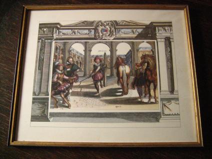 Antoine De Pluvinel Barock Reiten Bild Kupferstich colorierter Stich gerahmt 26