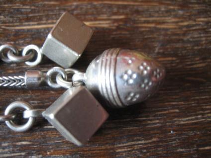 originelles Jugendstil Chatelaine 3 Abhängungen Würfel Eichel silber Uhrenkette - Vorschau 3