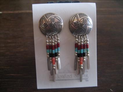 wunderschöne Indianerschmuck Ohrringe Hänger 925er Silber Farbsteine Navajo Zuni