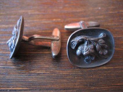 seltene antike Manschettenknöpfe Eichenlaub Eicheln 835er Silber Trachtenschmuck - Vorschau 2