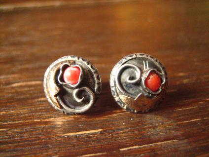 bezaubernd florale Art Deco Ohrringe Stecker 830er Silber rote Koralle Handmade - Vorschau 1