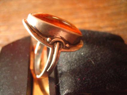prächtiger Art Deco 835er Silber Ring mit großem Bernstein Unikat 17, 2 mm RG 54 - Vorschau 3