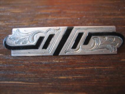 ausgefallene Art Deco Designer Brosche Krawattennadel Silber Emaille Handarbeit
