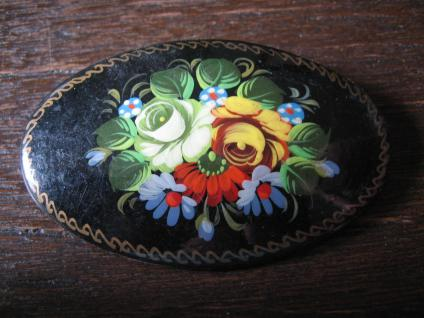 super edle Lackmalerei Miniaturmalerei Brosche Rosen Fedoskino handgemalt sign