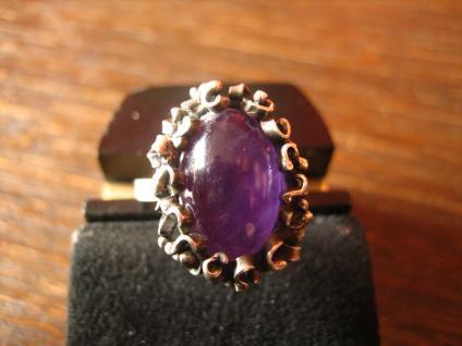 schöner Vintage Designer Ring mit Amethyst 925er Silber organische Form signiert