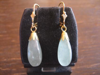 elegante Ohrringe Hänger feine grüne Jade Pampeln 925er Silber gold NEU
