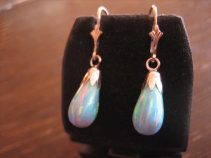 elegante Ohrringe Hänger traumhafte Opal Pampeln 925er Silber türkis Feuer NEU