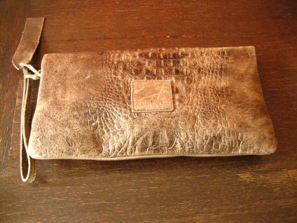 luxuriöse echt Leder Tasche Clutch Kroko Prägung beige Designer R. Leonardi - Vorschau 2