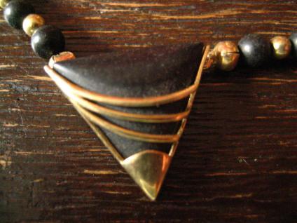 außergewöhnliches vintage Designer Collier Onyx 333er Gold Kugel Kette Dreieck - Vorschau 2