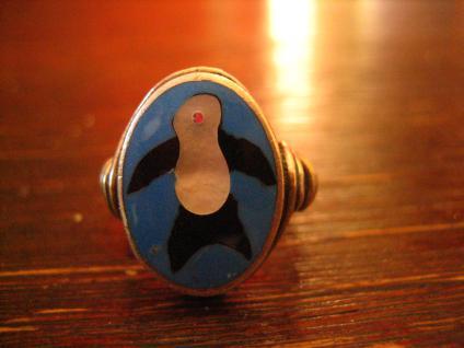 super niedlicher Pinguin Ring Native Navajo Indianerschmuck 925er Silber RG 57