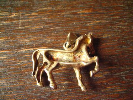 süßer Anhänger Pferd Pony Pferdchen 925er Silber gold Glücksbringer für Reiter - Vorschau 4