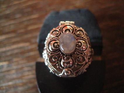 prächtiger Giftring Mondstein Ring zum Öffnen 925er Silber reich verziert RG 60 - Vorschau 1