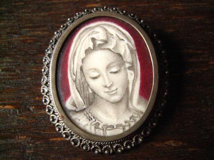 allerfeinste Miniaturmalerei Porträt junge Dame Anhänger Brosche 800er Silber