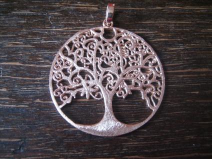 prächtiger großer Anhäger Lebensbaum Baum des Lebens 925er Silber rotgold 4 cm