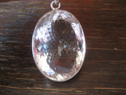 atemberaubender Statement Anhänger riesiger Bergkristall sehr klar 925er Silber - Vorschau 1