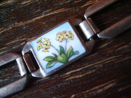 bezauberndes Jugendstil Armband emaillier Vier Jahreszeiten 835er Silber 18 cm - Vorschau 2
