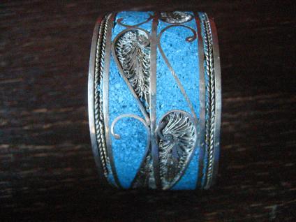 prächtiger Vintage Silber Armreif Armspange Türkis Handarbeit Ethno Berber - Vorschau 2