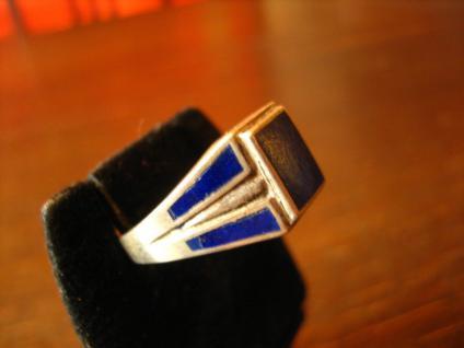 klassischer Art Deco 925er Silber Ring lapislazuli blau emailliert Emaille 18, 25 - Vorschau 2