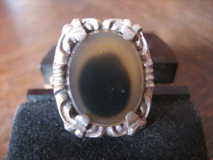 einzigartiger Art Deco Ring 835er Silber braunes Achat Auge Unikat RG 56 / 17, 75