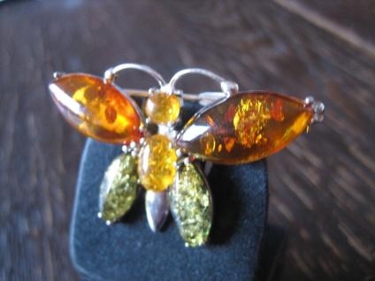 reizvolle Bernstein Brosche Schmetterling 3farbig 925er Silber grüner Bernstein