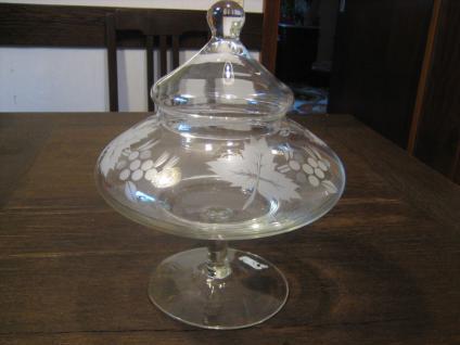 antike Glas Bonboniere Dose mit Deckel Deckeldose Schliff Trauben Wein Rebe
