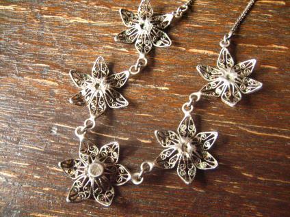 bezauberndes Jugendstil Collier filigrane Blüten Blumen 800er Silber Dirndl - Vorschau 4