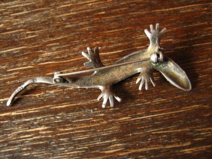 prächtige Art Deco Markasit Brosche Eidechse Salamander Gekko 835er Silber 6 cm - Vorschau 4