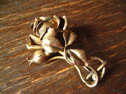 aufwändige antike Rosen Brosche Rose vollplastisch 800er Silber vergoldet gold - Vorschau 2