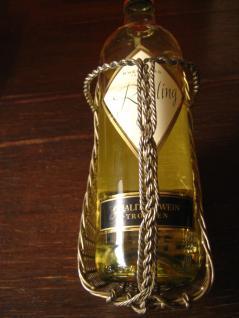 eleganter antiker Flaschenhalter Weinflaschenhalter kunstvoll Geflecht silber pl - Vorschau 3