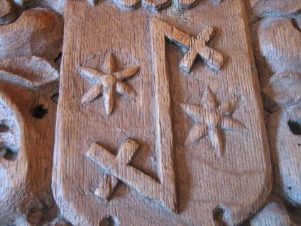Rarität ! aufwändiges Wappen Adelswappen Vollwappen geschnitzt Holz 27 x 21 cm - Vorschau 2