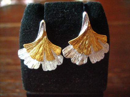 super tolle Gingko Ginkgo Blatt Ohrringe Stecker 925er Silber gold 2 Blätter