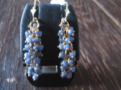 edle Ohrringe Hänger blauer Saphir 925 Silber gold blau bewegliche Trauben NEU