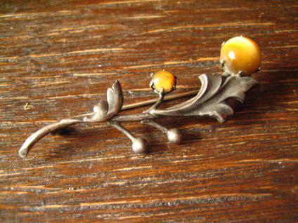 elegante Jugendstil Blüten Zweig Brosche Tigerauge 800er Silber Krawattennadel - Vorschau 2