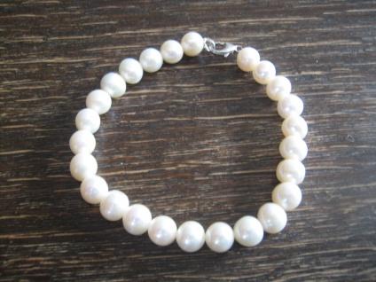 exquisites Perlen Armband AAA Naturweiß rund 8 mm 925er Silber 20 cm lang NEU