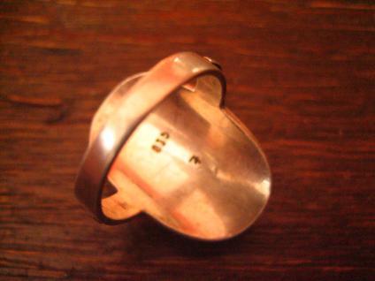 prächtiger Art Deco 835er Silber Ring mit großem Bernstein Unikat 17, 2 mm RG 54 - Vorschau 4