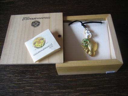 Einhorn aus dem Meer opulenter Designer Anhänger 925er Silber gold Emaille
